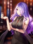 alcohol bare_shoulders black_dress blue_hair breasts camilla_(fire_emblem_if) champagne champagne_flute cleavage collarbone crossed_arms crossover cup dress drinking_glass dsr-50_(girls_frontline) earrings fire_emblem fire_emblem_heroes fire_emblem_if formal gigamessy girls_frontline hair_over_one_eye jewelry large_breasts long_hair purple_hair see-through sideboob upper_body violet_eyes wavy_hair wine wine_glass