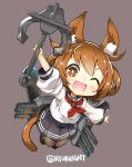 1girl anchor animal_ears black_legwear brown_eyes brown_hair cat_ears cat_tail chibi commentary_request folded_ponytail hair_ornament hairclip highres holding_anchor ikazuchi_(kantai_collection) kantai_collection naitou_ryuu open_mouth pleated_skirt rigging school_uniform serafuku short_hair signature skirt solo tail thigh-highs torpedo torpedo_tubes