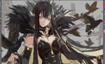 1girl absurdly_long_hair bird bird_on_hand black_dress black_hair breasts bridal_gauntlets cleavage closed_mouth commentary_request crow detached_sleeves dress fate/apocrypha fate/grand_order fate_(series) fur_trim highres large_breasts long_dress long_hair luin_y photoshop_(medium) pointy_ears red_lips semiramis_(fate) slit_pupils spikes very_long_hair work_in_progress yellow_eyes