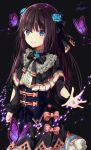 1girl arcaea bangs black_background black_bow black_capelet black_dress black_hair black_neckwear black_ribbon blue_eyes blue_flower blue_rose bow bowtie bug butterfly capelet center_frills closed_mouth corset dress eyebrows_visible_through_hair flower frilled_dress frills glowing_butterfly gothic_lolita hair_between_eyes hair_flower hair_ornament hair_ribbon insect light_particles lolita_fashion long_hair long_sleeves looking_at_viewer outstretched_arm outstretched_hand pink_bow ribbon rose shiny shiny_hair sidelocks signature simple_background smile solo sparkle standing tairitsu_(arcaea) tiasye