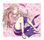 1girl armor blue_legwear brown_eyes brown_hair dango dated fire_emblem fire_emblem_if food full_body hand_on_own_knee happy_birthday headband hiyori_(rindou66) japanese_armor japanese_clothes kazahana_(fire_emblem_if) kimono knees_together_feet_apart long_hair looking_at_viewer obi patterned_background sandals sash shin_guards short_kimono side_locks single_thighhigh solo thigh-highs wagashi