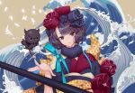1girl commentary english_commentary fate/grand_order fate_(series) flower giant_brush hair_flower hair_ornament head_tilt japanese_clothes katsushika_hokusai_(fate/grand_order) kimono looking_at_viewer octopus paintbrush purple_hair short_hair smile solo violet_eyes waves yume_ou