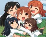 5girls ahoge aka-kabuto_no_gema akiyama_yukari bangs black_hair black_legwear black_neckwear blouse blunt_bangs brown_eyes brown_hair chibi closed_eyes commentary_request cowboy_shot feet_out_of_frame girls_und_panzer green_skirt hairband hug isuzu_hana long_hair long_sleeves miniskirt multiple_girls neckerchief nishizumi_miho ooarai_school_uniform open_mouth orange_hair pleated_skirt reizei_mako school_uniform serafuku short_hair skirt smile takebe_saori thigh-highs white_blouse white_hairband