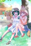 2girls alternate_headwear animal_ears backpack bag bare_shoulders black_hair blonde_hair bottle casual collarbone commentary_request contemporary denim denim_skirt dress eyebrows_visible_through_hair flip-flops hanao_(ctf870) handbag hat highres kaban_(kemono_friends) kemono_friends multicolored_hair multiple_girls sandals serval_(kemono_friends) serval_ears serval_print serval_tail short_hair sitting skirt sun_hat sundress tail tank_top water_bottle