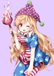 1girl ;d american_flag_dress american_flag_legwear blush breasts clownpiece commentary_request dress eyebrows_visible_through_hair feet_out_of_frame hand_up hat highres holding holding_torch horizontal_stripes leaning_forward long_hair neck_ruff one_eye_closed open_mouth pantyhose polka_dot purple_background purple_hat ruu_(tksymkw) short_dress short_sleeves simple_background small_breasts smile solo star star_print striped torch touhou very_long_hair wavy_hair