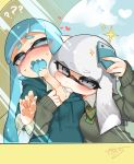 2girls aqua_eyes aqua_hair biting blazer blush bow bowtie cellphone commentary_request domino_mask fangs grey_eyes grey_hair highres holding holding_phone hood hoodie inkling jacket mask multiple_girls nama_namusan neck_biting phone pointy_ears reaching_out school_uniform self_shot smartphone splatoon squid taking_picture tentacle_hair yuri