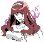 1girl aura bangs blunt_bangs breasts celica_(fire_emblem) cleavage dark_persona detached_collar earrings fire_emblem fire_emblem_echoes:_mou_hitori_no_eiyuuou fire_emblem_heroes hairband jewelry long_hair looking_at_viewer medium_breasts portrait red_eyes redhead simple_background sketch smile solo spot_color tokusa_riko white_background