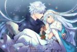 1boy 1girl anastasia_(fate/grand_order) artist_name blue_cloak blue_eyes brown_eyes brown_hairband carrying character_name commentary crown doll dress english_commentary fate/grand_order fate_(series) fur-trimmed_cloak hairband holding holding_doll kadoc_zemlupus long_dress long_hair mini_crown princess_carry royal_robe silver_hair very_long_hair white_dress yume_ou