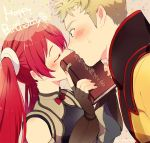 1boy 1girl blonde_hair blue_eyes blush book closed_eyes embarrassed eudes_(fire_emblem) fingerless_gloves fire_emblem fire_emblem:_kakusei gloves holding holding_book indirect_kiss kiss long_hair redhead selena_(fire_emblem) twintails