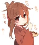 1girl blush brown_eyes brown_hair commentary_request eating folded_ponytail food inazuma_(kantai_collection) japanese_clothes kantai_collection kimono long_hair looking_at_viewer simple_background solo takoyaki upper_body white_background yoru_nai yukata