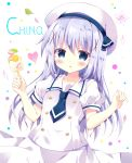 1girl :o bangs beret bitter_crown blue_eyes blue_hair blue_neckwear blush character_name collarbone commentary_request eyebrows_visible_through_hair fingernails flower food gochuumon_wa_usagi_desu_ka? hair_between_eyes hands_up hat heart holding holding_food kafuu_chino kafuu_chino's_school_uniform long_hair necktie parted_lips popsicle puffy_short_sleeves puffy_sleeves school_uniform shirt short_necktie short_sleeves skirt solo very_long_hair white_background white_flower white_hat white_shirt white_skirt