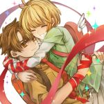 1boy 1girl bangs blonde_hair brown_eyes brown_hair brown_shirt card_captor_sakura closed_eyes couple eyebrows_visible_through_hair green_ribbon grey_shirt grey_skirt grin hug kinomoto_sakura li_xiaolang neck_ribbon neva_(n_e_v_a) open_mouth pleated_skirt red_ribbon ribbon shirt short_hair short_sleeves skirt smile sparkle
