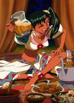 1girl 90s anklet barefoot blush bowl bracelet cup dark_skin drink earrings food fringe green_eyes hand_on_leg holding holding_cup indian_style jean_(lunar) jewelry long_hair lowres lunar lunar_2:_eternal_blue meat midriff navel official_art one_eye_closed open_mouth outstretched_arm plate side_ponytail sitting solo upper_teeth