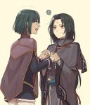 2boys ? akke black_hair bob_cut cape dark_skin dark_skinned_male facial_mark fire_emblem fire_emblem:_akatsuki_no_megami fire_emblem:_souen_no_kiseki forehead_mark green_hair hand_holding kurthnaga long_hair multiple_boys open_mouth pants red_eyes simple_background soren straight_hair sweatdrop white_pants