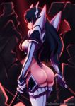 1girl absurdres ass black_hair blue_eyes boots breasts caffeccino cleavage_cutout commentary dual_wielding english_commentary epic from_behind highres holding huge_filesize junketsu kamui_(kill_la_kill) katana kill_la_kill kiryuuin_satsuki large_breasts long_hair looking_back revealing_clothes serious sideboob sideways_mouth solo sword thick_eyebrows thigh-highs thigh_boots thong wakizashi watermark weapon web_address