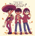 3boys acoustic_guitar black_hair bow brown_eyes charro coco_(disney) dark_skin disney flower guitar hat highres hood instrument jacket male_focus marigold mexican miguel_rivera multiple_boys multiple_persona petals short_hair skeleton skull smile sombrero