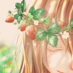 1girl blurry blurry_background close-up closed_eyes eyelashes face flower food fruit gradient gradient_background happy head_wreath highres leaf light_brown_hair light_smile long_hair multicolored multicolored_background original painttool_sai smile solo_focus strawberry sunlight white_flower