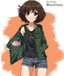 1girl akiyama_yukari anglerfish artist_name bangs black_shirt brown_eyes brown_hair casual closed_mouth collarbone commentary cowboy_shot denim denim_shorts emblem english eyebrows_visible_through_hair girls_und_panzer green_jacket grey_shorts hand_in_pocket jacket jewelry long_sleeves looking_at_viewer messy_hair necklace open_clothes open_jacket orange_background shirt short_hair short_shorts shorts signature smile solo standing tank_top twitter_username v-shaped_eyebrows zanntetu
