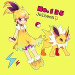 1girl black_eyes blonde_hair character_name earrings english full_body gen_1_pokemon jewelry jolteon lightning_bolt mameeekueya moemon multicolored multicolored_eyes personification poke_ball pokemon pokemon_(creature) pokemon_number ponytail simple_background standing violet_eyes yellow yellow_background yellow_footwear