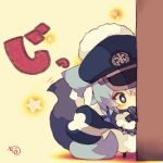 1girl animal_ears around_corner blue_eyes blue_hair bow bowtie chibi hat looking_at_viewer muuran original peaked_cap snowflake_print solo standing star star-shaped_pupils symbol-shaped_pupils tail