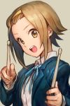 1girl blue_jacket blue_ribbon brown_eyes brown_hair drumsticks grey_background hairband hankuri jacket k-on! neck_ribbon open_mouth ribbon sakuragaoka_high_school_uniform school_uniform simple_background solo tainaka_ritsu upper_teeth