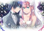 1boy 1girl bangs bare_shoulders black_hair black_neckwear blue_eyes blue_horns blush bow bowtie breasts bridal_veil cleavage collarbone collared_shirt commentary_request couple darling_in_the_franxx dress english eyebrows_visible_through_hair flower formal futami_(futamito) green_eyes grey_suit hair_flower hair_ornament hand_up hetero hiro_(darling_in_the_franxx) horns jewelry long_hair long_sleeves looking_at_another medium_breasts oni_horns pink_hair red_horns ring shirt short_hair suit veil wedding_dress wedding_ring white_dress white_shirt wing_collar zero_two_(darling_in_the_franxx)