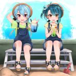 2girls absurdres ahoge alternate_costume bear bench blonde_hair blue_hair blue_ribbon blush bow brown_eyes cherry commentary_request denim denim_shorts drink fang fangs flat_chest flower food fruit fukae_(kantai_collection) gradient_hair hat highres holding ice_cream kantai_collection long_hair looking_at_viewer multicolored_hair multiple_girls nail_polish open_mouth red_eyes ribbon sado_(kantai_collection) sand sandals shirt short_hair short_sleeves shorts shovel sitting smile t-shirt yunamaro