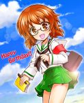 1girl :d armband bag bangs black-framed_eyewear blouse book brown_eyes brown_hair burafu carrying clouds cloudy_sky commentary_request cowboy_shot day english girls_und_panzer glasses green_skirt happy_birthday holding leaning_forward lens_flare long_sleeves looking_at_viewer miniskirt ooarai_school_uniform open_mouth ou_taiga outdoors pen pleated_skirt school_bag school_uniform semi-rimless_eyewear serafuku short_hair skirt sky smile solo standing twintails under-rim_eyewear
