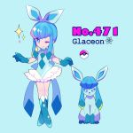 1girl bangs blue_eyes blue_footwear blue_gloves bow character_name earrings english full_body gen_4_pokemon glaceon gloves jewelry light_blue_background long_hair looking_at_viewer mameeekueya moemon one_eye_closed personification poke_ball pokemon pokemon_(creature) pokemon_number shoes simple_background sleeveless smile sparkle wink