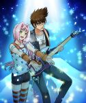 1boy 1girl :d black_jacket black_pants black_shorts bracelet brown_hair closed_eyes detached_sleeves fingerless_gloves floating_hair glasses gloves green_eyes guitar head_tilt holding holding_instrument instrument jacket jewelry kutsuno long_hair macross macross_7 mylene_jenius necklace nekki_basara open_clothes open_jacket open_mouth pants pink_hair print_shirt red_gloves round_eyewear shirt short_shorts shorts sleeveless sleeveless_shirt smile spiky_hair standing star star_print striped striped_legwear thigh-highs very_long_hair white_shirt zettai_ryouiki