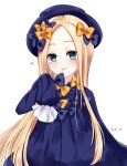 1girl :p abigail_williams_(fate/grand_order) absurdres azetsuraito bangs black_bow blonde_hair blue_dress blue_eyes blue_hat blush bow closed_mouth commentary_request dress fate/grand_order fate_(series) forehead hair_bow hand_up hat heart highres long_hair long_sleeves looking_at_viewer orange_bow parted_bangs polka_dot polka_dot_bow simple_background sleeves_past_fingers sleeves_past_wrists smile solo tongue tongue_out very_long_hair white_background