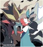 1girl bow brown_hair child closed_eyes dress entei gen_2_pokemon hug mii_snowdon pokemon pokemon_(anime) pokemon_(classic_anime) pokemon_(creature) pokemon_m03 short_hair tearing_up