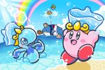 6+others apple_print beach beanie blush_stickers clouds commentary_request copy_ability driblee fatty_whale fruit_print hal_laboratory_inc. hat headphones hoshi_no_kirby hoshi_no_kirby_super_deluxe innertube kirby kirby:_star_allies kirby_(series) kirby_super_star lens_flare nintendo no_humans ocean official_art rainbow smile swimming waddle_dee whale