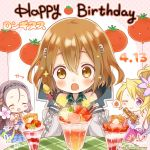 3girls artist_request balloon blonde_hair blue_eyes blush brown_hair chibi closed_eyes company_name dress flower gun hair_between_eyes hair_flower hair_ornament hairband hairclip happy_birthday highres long_hair longinus_(phantom_of_the_kill) megiddo_(phantom_of_the_kill) multiple_girls official_art one_eye_closed open_mouth parfait phantom_of_the_kill rhongomyniad_(phantom_of_the_kill) short_hair silver_hair smile spoon tomato weapon yellow_eyes