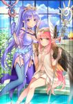 2girls :o blue_eyes blue_hair boots breasts brown_eyes caster_lily circe_(fate/grand_order) commentary_request cup fate/grand_order fate_(series) gloves highres long_hair looking_at_viewer mismatched_footwear multiple_girls pink_hair pixiv_fate/grand_order_contest_2 pointy_ears ponytail skirt small_breasts staff thigh-highs thigh_boots wings yumesaki