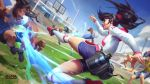 1girl 3boys alistar alternate_form animal ball beard black_hair blitzcrank blue_shirt blue_shorts breasts building clouds cow facial_hair grass hat highres judge league_of_legends long_hair medium_breasts multiple_boys official_art open_mouth outdoors playing_games playing_sports red_footwear robot shirt short_hair shorts sky soccer soccer_ball soccer_uniform sport sportswear twisted_fate white_hair white_shirt world_cup