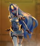 1girl android blue_hair breasts commentary_request cyborg erufa_(pixiv) forehead_protector highres kos-mos long_hair red_eyes solo xenosaga