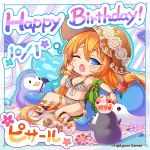 1girl artist_request bikini bird blue_eyes blush blush_stickers breasts chibi cleavage company_name eyebrows_visible_through_hair fan fanning_face flower framed hair_flower hair_ornament happy_birthday hat highres long_hair official_art one_eye_closed orange_hair penguin phantom_of_the_kill pisarl_(phantom_of_the_kill) shaved_ice sun_hat swimsuit towel very_long_hair whale white_bikini white_swimsuit yawning