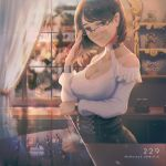 1girl bangs bare_shoulders breasts brown_eyes brown_hair cleavage closed_mouth collar commentary_request corset curtains display_case eyeglass glass glasses halterneck highres indoors large_breasts long_sleeves looking_at_viewer original semi-rimless_eyewear shelf shirt shop short_hair shoulder_cutout smile standing swept_bangs white_shirt window wudi_sao_nian