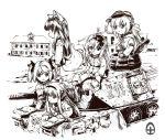 acea4 animal_ears bad_id child headphones military military_uniform military_vehicle monochrome multiple_girls panzerkampfwagen_iv tail tank uniform vehicle visor visor_cap