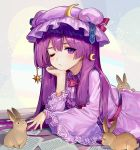 1girl ainy77 animal closed_mouth commentary_request crescent dress eyebrows_visible_through_hair hat long_hair long_sleeves looking_at_viewer lying nail_polish on_stomach one_eye_closed patchouli_knowledge purple_dress purple_hair purple_hat purple_nails rabbit star striped touhou vertical_stripes violet_eyes