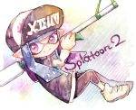 1girl bangs baseball_cap black_pants blunt_bangs capri_pants closed_mouth copyright_name domino_mask hat holding inkling long_hair long_sleeves mask over_shoulder pants pink_eyes pointy_ears purple_hair rrrpct shoes smile solo splat_charger_(splatoon) splatoon splatoon_2 striped striped_sleeves tentacle_hair white_footwear