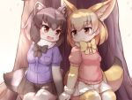 2girls :d animal_ears black_gloves black_hair black_neckwear black_skirt blonde_hair blush bow bowtie breast_pocket brown_eyes buttons cherry_blossoms common_raccoon_(kemono_friends) extra_ears eye_contact eyebrows_visible_through_hair fang fennec_(kemono_friends) fox_ears fox_tail fur_collar fur_trim gloves grey_hair hands_together kemono_friends looking_at_another matsuu_(akiomoi) miniskirt multicolored multicolored_clothes multicolored_hair multicolored_legwear multiple_girls open_mouth petals pink_sweater pleated_skirt pocket raccoon_ears raccoon_tail short_sleeves sitting skirt smile sweater tail thigh-highs tree white_gloves white_legwear white_skirt yellow_legwear yellow_neckwear