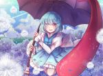1girl :d blue_eyes blue_hair blue_skirt blue_sky blue_vest clouds dandelion day eyebrows_visible_through_hair eyes_visible_through_hair flower folded_leg frilled_skirt frills hair_between_eyes hair_over_eyes heterochromia highres holding holding_umbrella hydrangea juliet_sleeves jumping karakasa_obake light_particles long_sleeves long_tongue looking_at_viewer nga_(artist) open_mouth outdoors puffy_sleeves red_eyes shirt short_hair skirt skirt_set sky smile solo tatara_kogasa tongue touhou umbrella very_long_tongue vest white_shirt