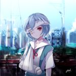 1girl absurdres arm_sling ayanami_rei bandage bandage_over_one_eye bandaged_arm bandages bangs bee_doushi blue_hair blue_skirt blue_sky building cast collarbone collared_shirt commentary crane day head_tilt highres looking_at_viewer neck_ribbon neon_genesis_evangelion outdoors parted_lips red_eyes red_ribbon ribbon shirt short_sleeves signature skirt sky skyscraper solo telephone_pole white_shirt