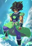 1boy angry armor armored_boots arms_at_sides aura bare_arms black_hair boots breastplate broly bulge chest choker clenched_hand closed_mouth commentary day dragon_ball dragon_ball_super english_commentary glowing glowing_eyes highres light_trail long_hair looking_at_viewer male_focus muscle outdoors pointy_hair redesign scar shoulder_armor signature skin_tight solo spaulders standing thick_eyebrows tovio_rogers v-shaped_eyebrows vambraces yellow_eyes