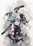3girls alpaca_carlesi android asymmetrical_hair bandage bandaged_arm bandages black_dress black_gloves boots braid dress dual_wielding feather-trimmed_sleeves flower gloves hair_flower hair_ornament hairband holding kaine_(nier) kneeling long_hair looking_at_viewer mole mole_under_mouth multiple_girls nier nier_(series) nier_automata over_shoulder short_dress short_hair short_shorts shorts silver_hair simple_background standing sword thigh-highs thigh_boots very_long_hair weapon weapon_over_shoulder yorha_no._2_type_b yorha_type_a_no._2