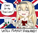1girl 2018_fifa_world_cup =_= blonde_hair braid closed_eyes commentary dress england english english_commentary english_flag flag_background flower french_braid guin_guin jewelry kantai_collection long_hair long_sleeves necklace off-shoulder_dress off_shoulder red_flower red_ribbon red_rose ribbon rose solo tea teabag union_jack warspite_(kantai_collection) world_cup