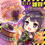 1girl armband artist_request barcode_tattoo belt black_tank_top blush_stickers cake camouflage camouflage_jacket chibi company_name dirty_face explosion explosive food green_jacket grenade happy_birthday highres imagining jacket leaf official_art phantom_of_the_kill purple_hair saiga_(phantom_of_the_kill) short_hair sparkle symbol-shaped_pupils tattoo thought_bubble violet_eyes