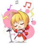 /\/\/\ 1girl absurdres ahoge blonde_hair blush_stickers chibi closed_eyes epaulettes eyebrows_visible_through_hair fate/extra fate_(series) full_body highres long_sleeves microphone microphone_stand music musical_note nero_claudius_(fate) nero_claudius_(fate)_(all) open_mouth saber_extra short_hair singing solo standing subaru_(794829485) white_background